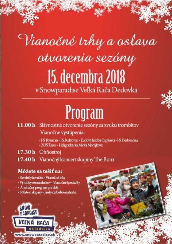 15. 12. 2018<br>Vianočné trhy a oslava otvorenia sezóny